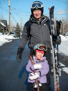 Mal and Alexa ready to go skiing.