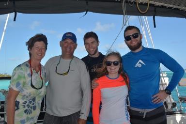 Marcie, Dave & family from SV Trebuchet, Wardrick Wells Bahamas, Dec. 2015