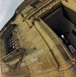 A green stone called cantera, ,is seen throughout the city's public buildings and churches