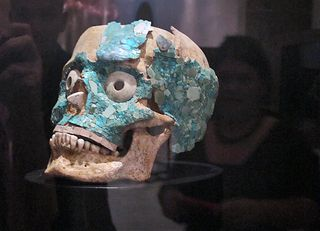 Blue Tile Skull at Museum of Oaxacan Cultures