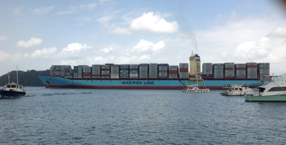 See how this cargo ship dwarfs Neko (right side of photo)
