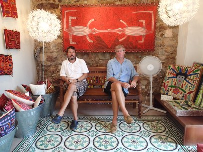 Peter and Mike love shopping, but look at that gorgeous tile floor