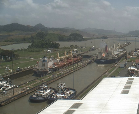 Aerial view of Neko in the locks.  See how the cargo ship dwarfs Neko. (Thanks Angie for the photo)