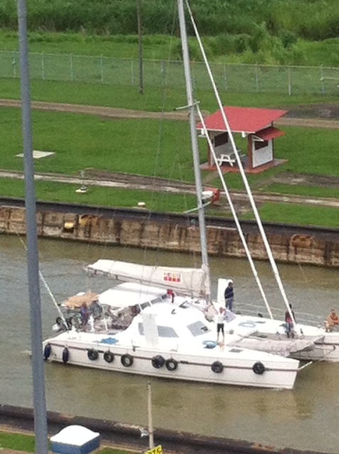 This photo was taken by our friend Holly Scott from the observation platform at Miraflores Locks
