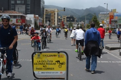 Ciclovía, streets are closed to car traffic on Sundays so folks can bike, skate, jog through the streets