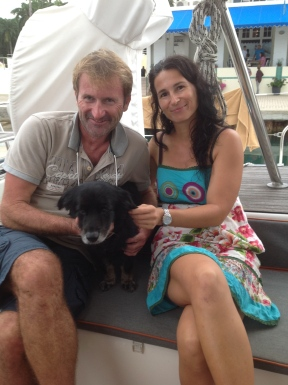 Evan, Lambrini and Othello from S/V Sagitta Shelter Bay Panama Sept. 2014