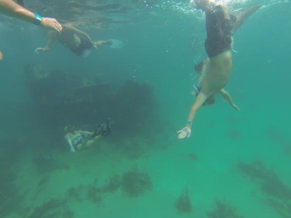 Peter exploring the wreck