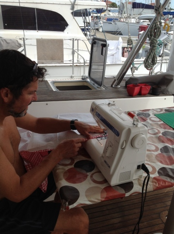 Yes, that is Captain Pete at the sewing wheel