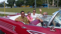 Peter, Charlotte, Mary and Olexis in 50s car