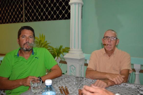 Pete and James enjoying their Cuban cigars