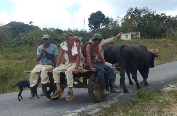 men on cart