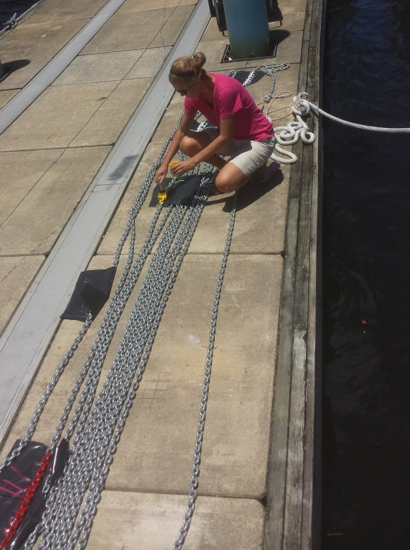 Mary painting anchor chain.  Each color marks 25'
