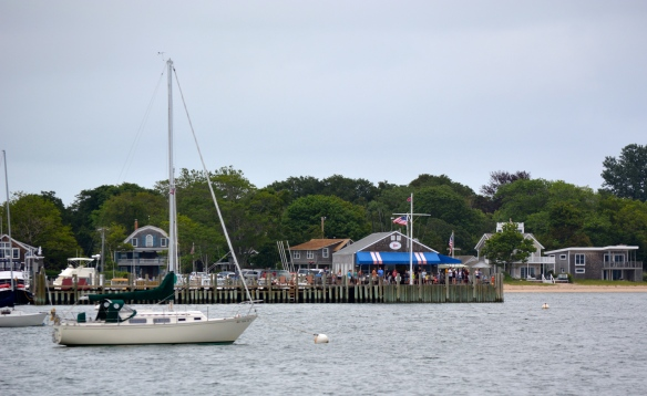 Anchored in front of our little Yacht Club