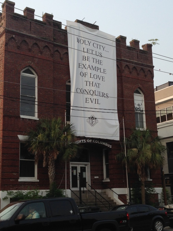 These uplifting banners were found throughout town.