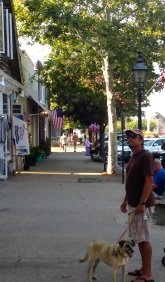 Calm before storm. Quiet Sag Harbor street before Labor Day crowds.