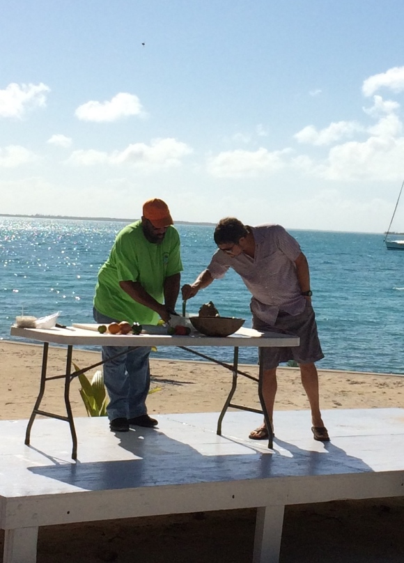 Pete getting a conch cutting lesson