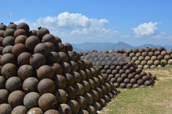 Hundreds of unfired cannonballs