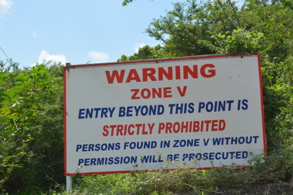 Warning zone v sign