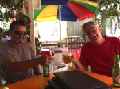 Pete & Mike proving they do drink beer on the French islands.